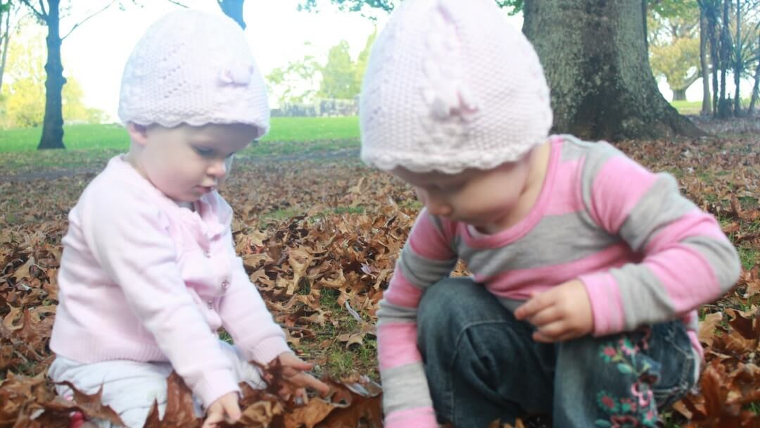 Toddler Twins playing with the autumn leaves in the park