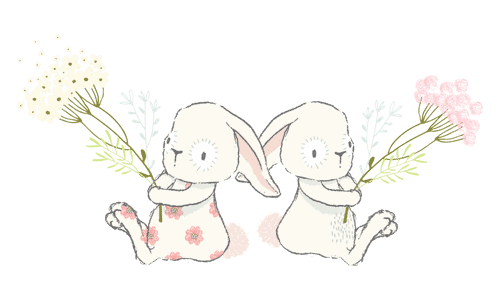 Twin Bunnies holding flowers