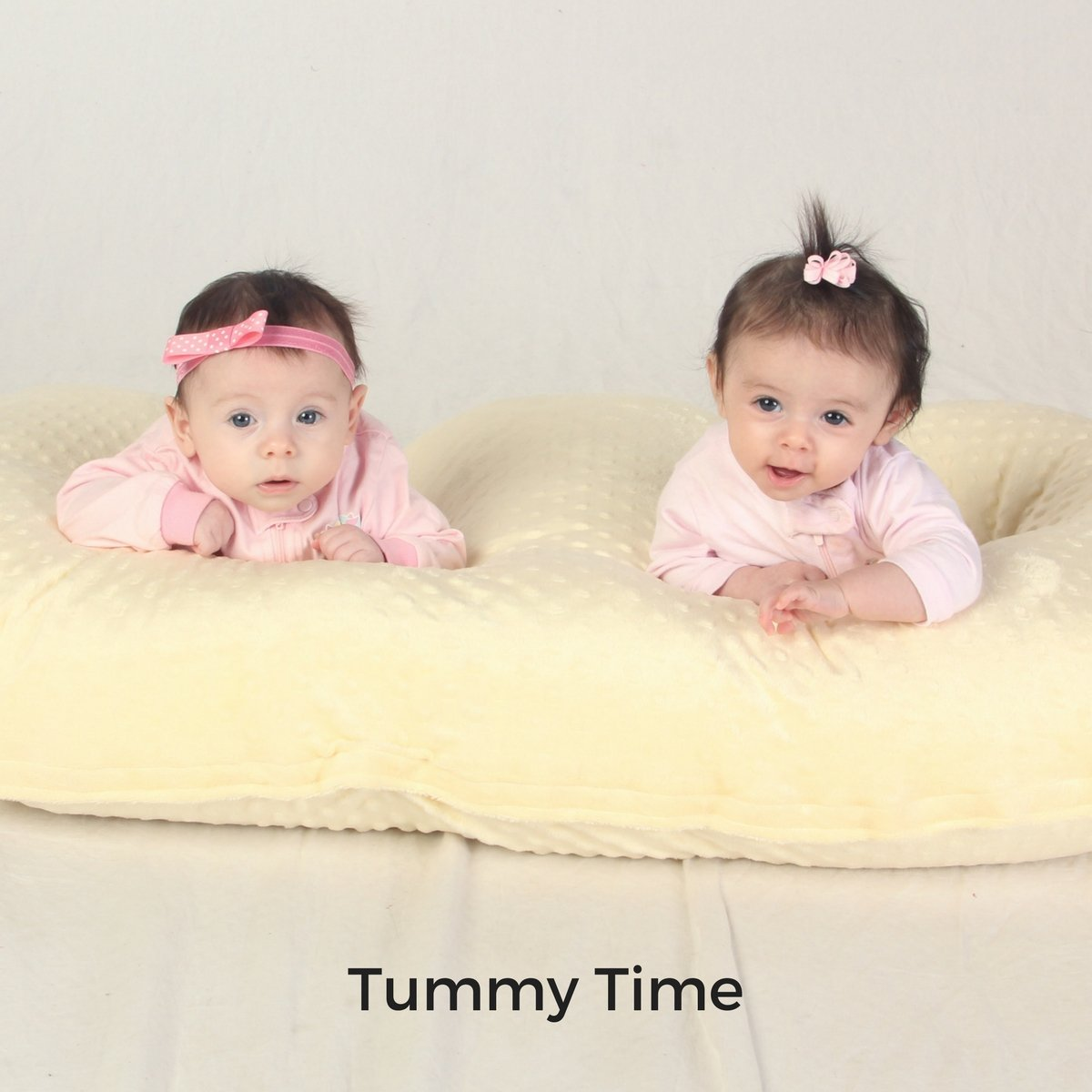 Twins having tummy time on the Twin Z Pillow